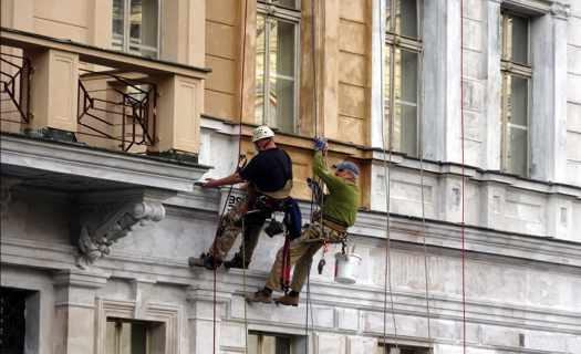 Výškové práce, opravy a čištění fasád, nátěry střech, mytí prosklených ploch