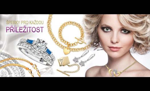 Šperky a bižuterie, zlaté, stříbrné, z chirurgické oceli