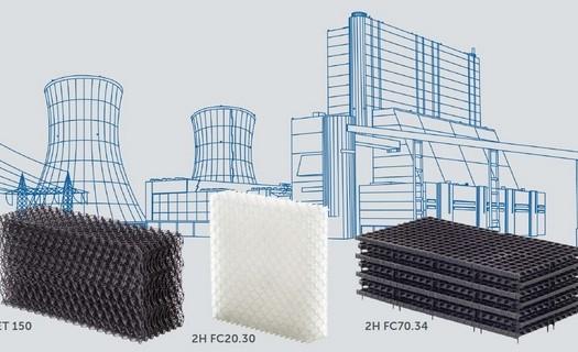 Plastové výplně pro chladící věže Děčín, výplně z různých materiálů, různé struktury a povrchů