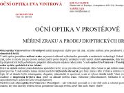 WEBOVÁ STRÁNKA Oční optika Vintrová Eva
