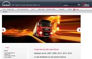 Strona (witryna) internetowa Truck Service Zlin a.s.