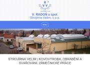 Strona (witryna) internetowa V.Radon a spol. Strojirna Velim v.o.s.