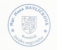 Tlumo�n�k Mgr. Hana Havl��kov�