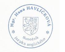 Tlumočník Mgr. Hana Havlíčková