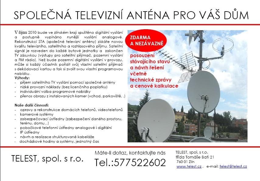 Společná televizní anténa pro váš dům, rekonstrukce STA Zlín