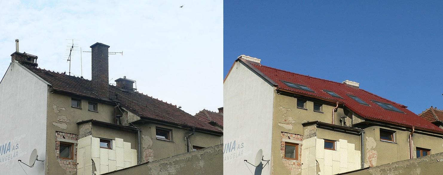 pokrývačské práce před a po - Zlínský kraj