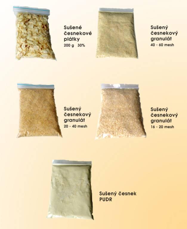 Prodej sušeného česneku, česnekové pasty