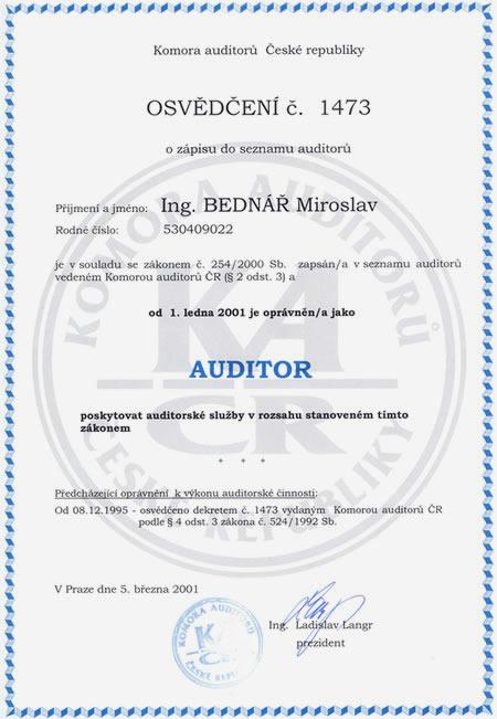 Auditor daňový poradce přiznání k dani účetnictví Hradec Králové