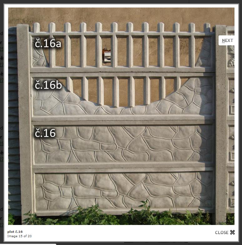 Betonový plot - ozdobný