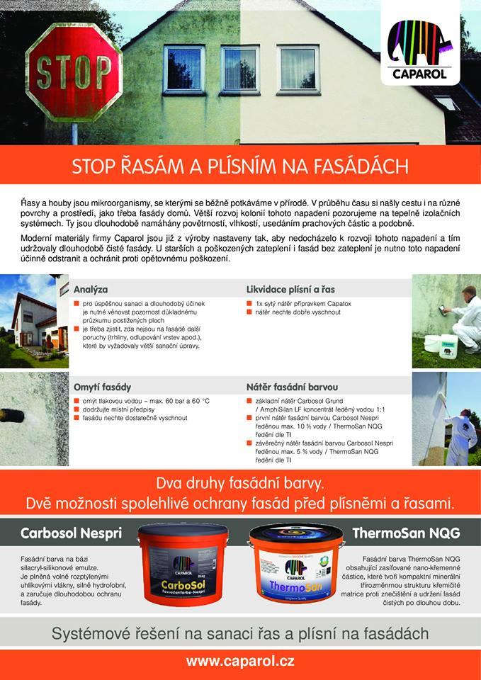 Fasádní barvy Caparol - ochrana fasády proti plísním a řasám