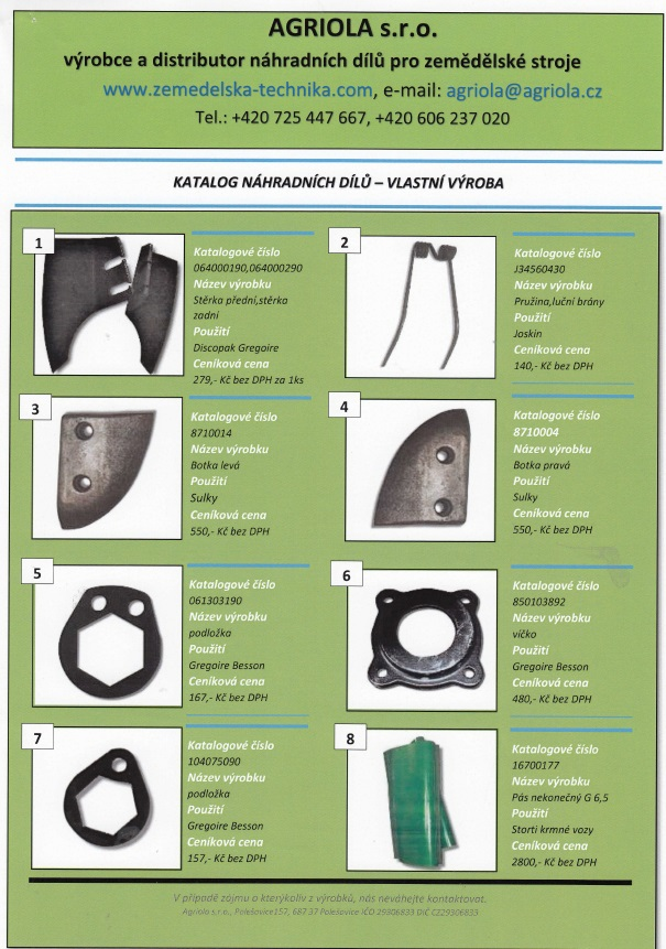 katalog náhradních dílů na zemědělské stroje