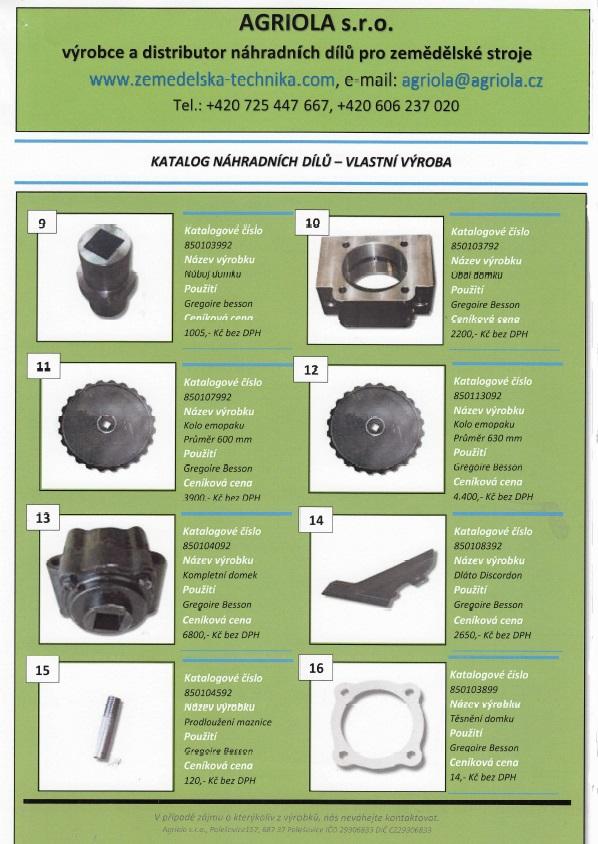 katalog náhradních dílů na stroje Gregoire-Besson