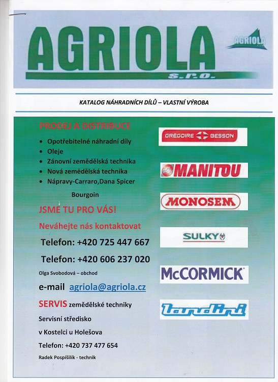 Produkcja części zamiennych do maszyn rolniczych Czechy - Gregoire-Besson, Joskin, Sulky