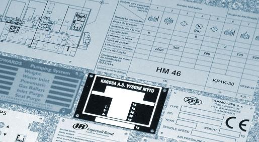Výroba technické, výrobní, přístrojové štítky - hliníkové, nerezové, ocelové