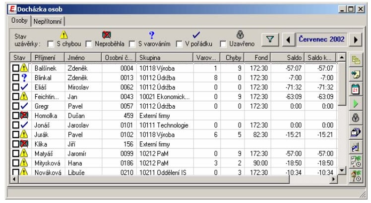 Docházka osob Systém evidence 2000