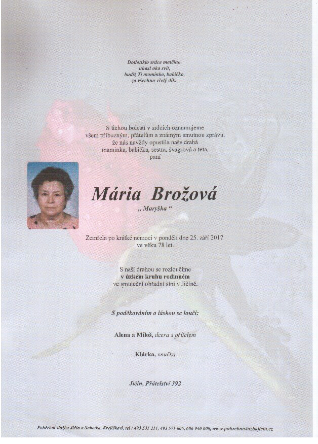 Důstojné pohřby zesnulých včetně tisku smutečních
