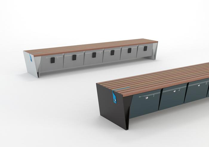 lavička Eblocq s integrovanou zásuvkou USB, 230V