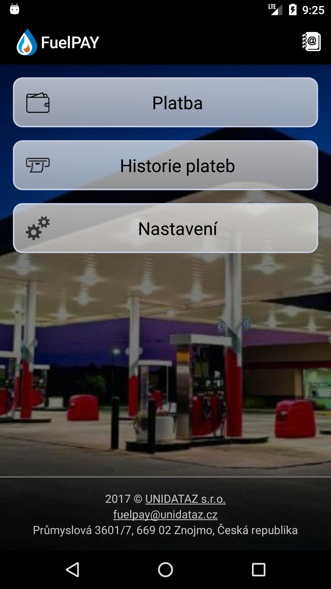 Mobilní aplikace UNIDATAZ FuelPAY®
