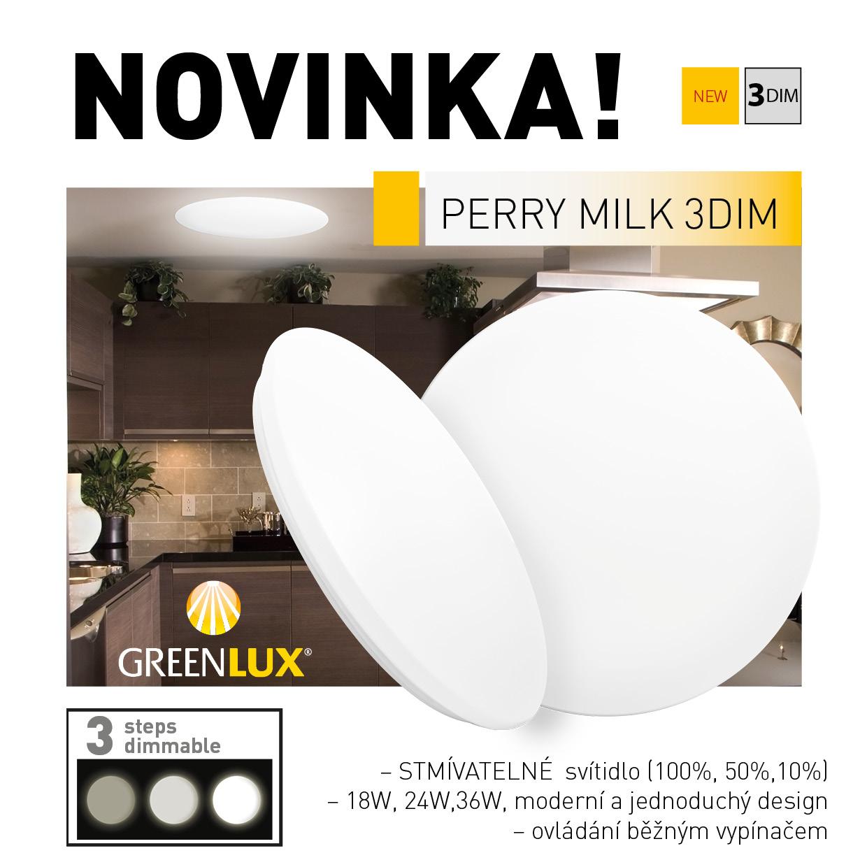 Stmívatelné stropní LED svítidlo PERRY MILK - stmívání pomocí běžného vypínače