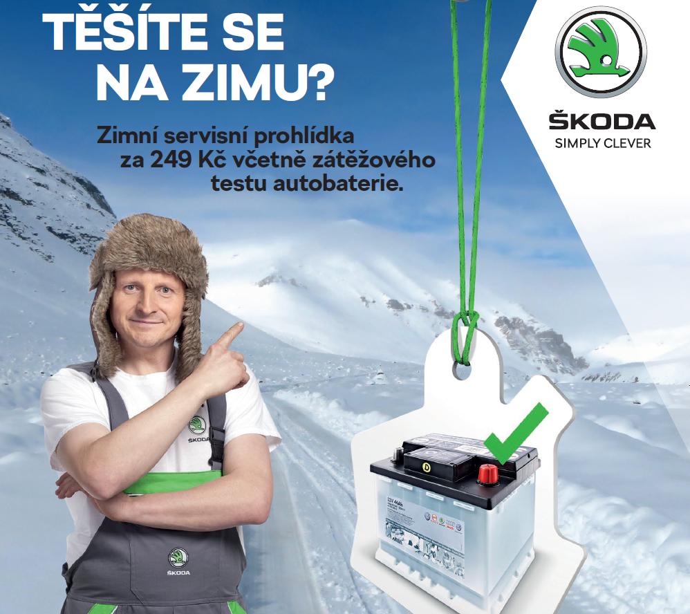 Zimní servisní prohlídka vozů Škoda za 249,- Kč včetně zátěžového testu autobaterie