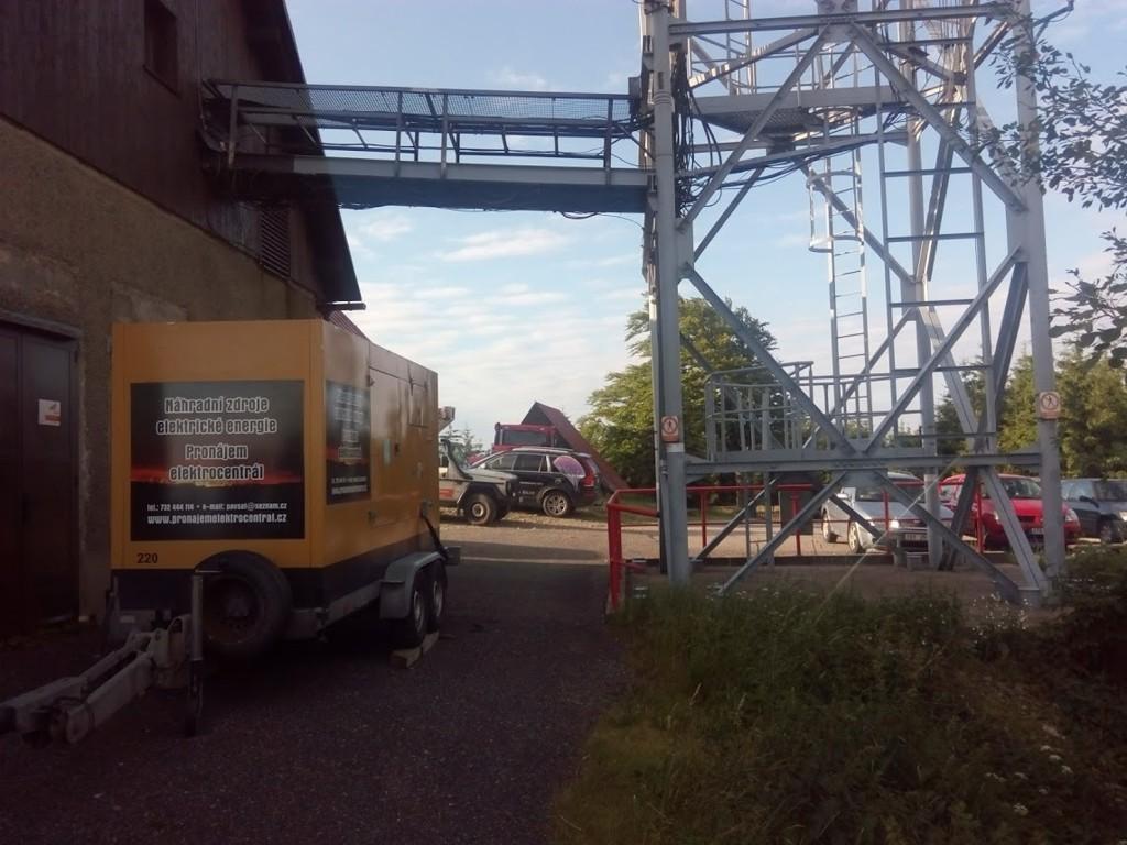 Zapůjčení mobilní elektrocentrály při výstavbě Znojmo, Hodonín