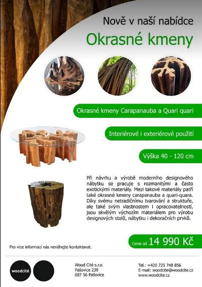 Okrasné kmeny do interiéru i pro výrobu nábytku - Carapanauba, Quari quara