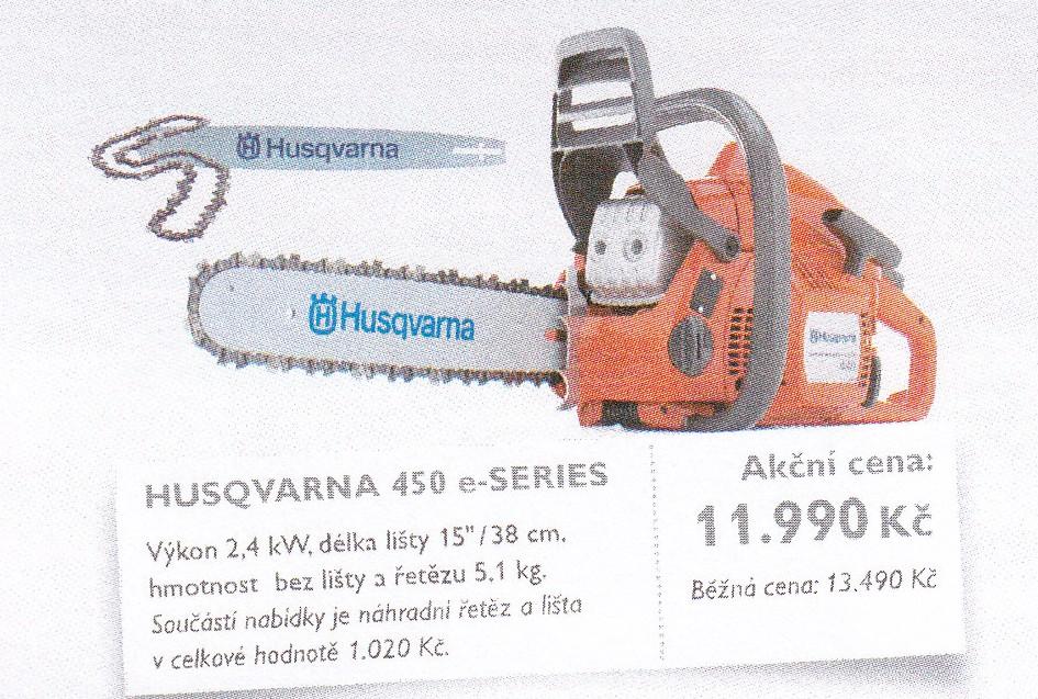 Akce Husqvarna motorové pily, křovinořezy, sekery sekačky Šumperk