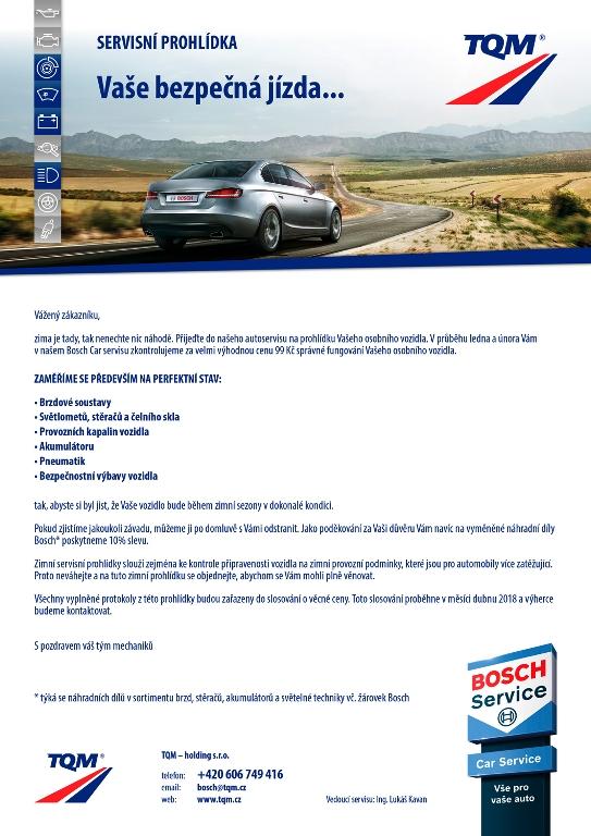 Zimní servisní prohlídka za akční cenu 99,- Kč- kontrola správného fungování vozidla