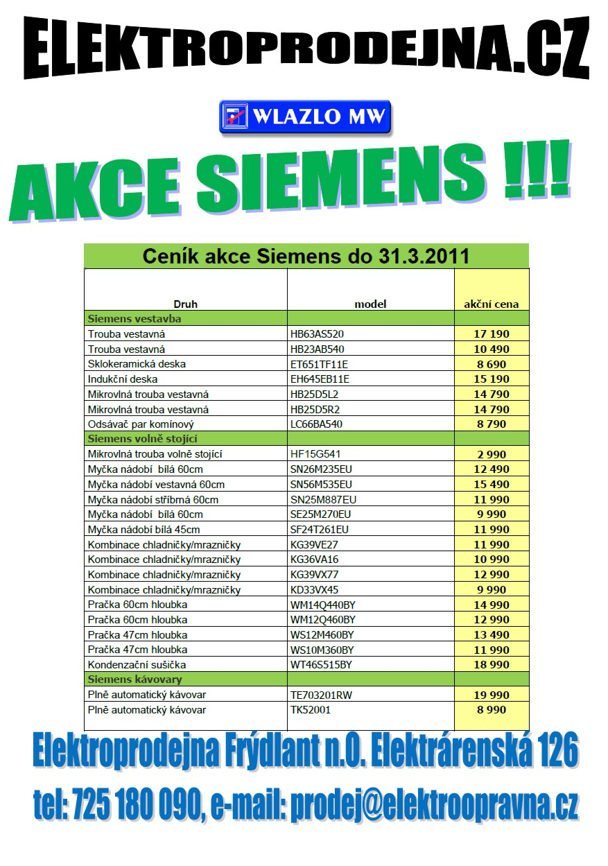 Prodej, e-shop vestavné i jiné spotřebiče Siemens Ostrava - akce