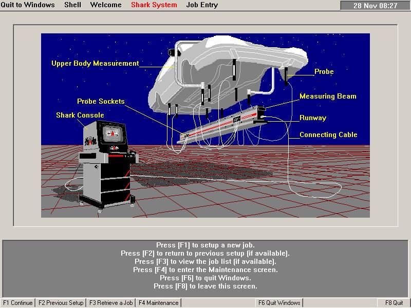 Měřící systém proměřování podvozku SHARK
