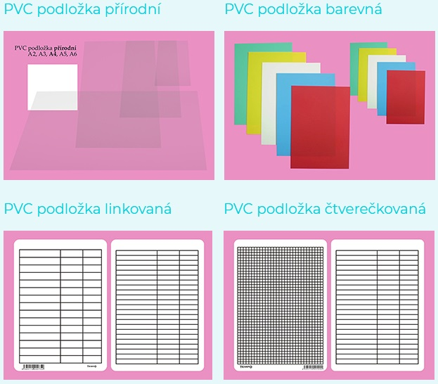 PVC podložky barevne, přírodní, linkované, čtverečkované