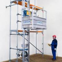 Stavební výtahy, shozy, lešenářské vrátky GEDA, výhradní distributor, Praha