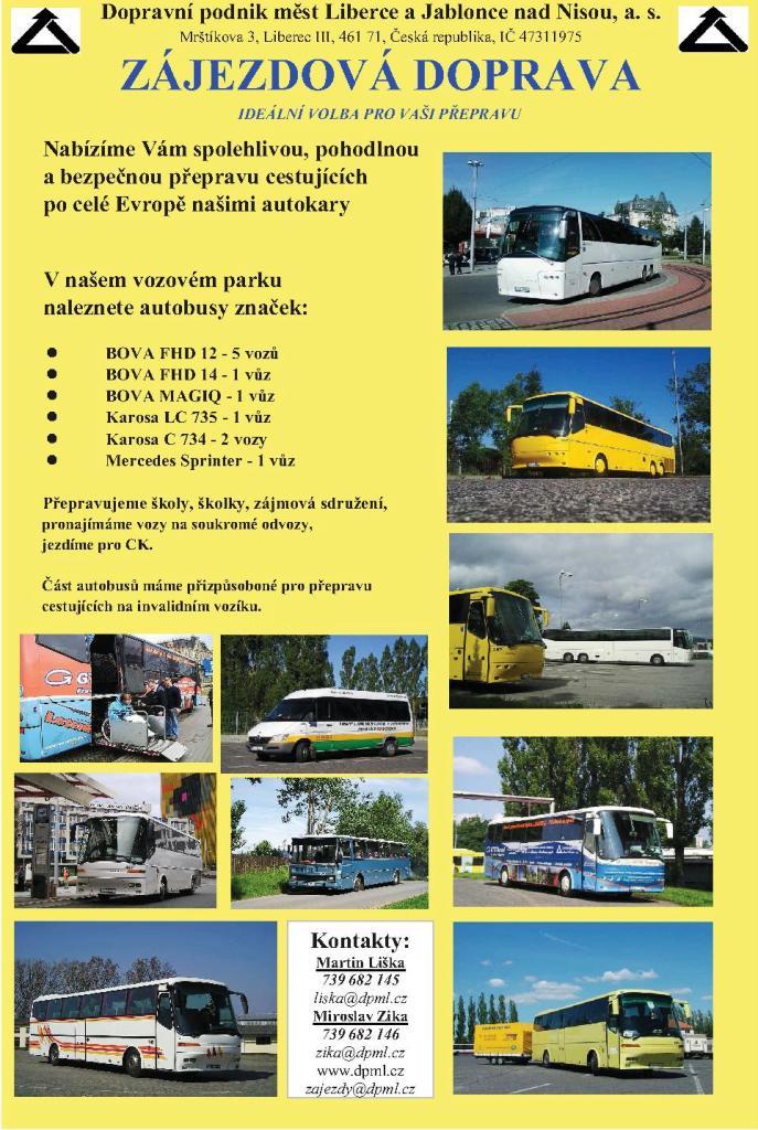 Mezinárodní vnitrostátní autobusová doprava přeprava osob Liberec