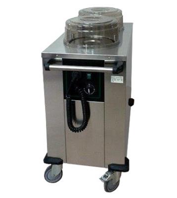 Elektrické vyhřívané vozíky a podavače talířů, košů a nádobí