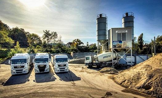 výroba betonu a přeprava betonu z betonárny