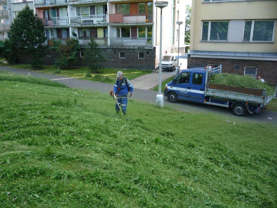 Sekaní vysoké trávy, čištění travnatých ploch, Technické služby VM