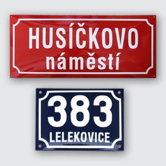 Originálne smaltované tabule, štítky Česká republika - domové čísla, označenie budov, strojov, erby miest