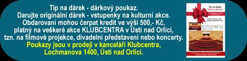 Dárkové poukazy KLUBCENTRUM Ústí nad Orlicí – originální tip na dárek