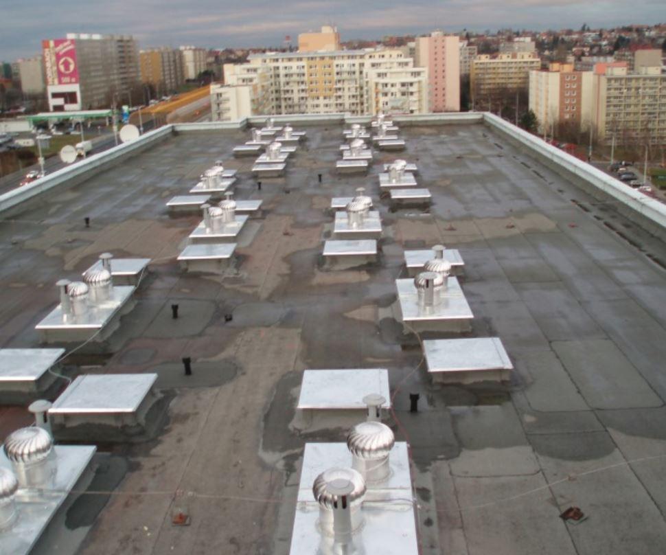 Nadstřešní části odvětrání v budovách - rekonstrukce