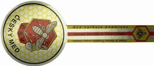 Barevné samolepicí etikety na obaly s medem a medovinou s ochrannými známkami ČSV