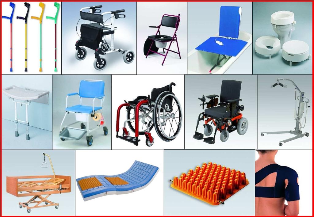 Ortopedické potřeby, chodítka, vozíky, křesla, sedátka, hole.