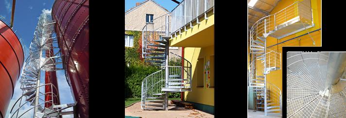 Točité spirálové i přímé schodiště z roštů a plechu – každý kus je originál