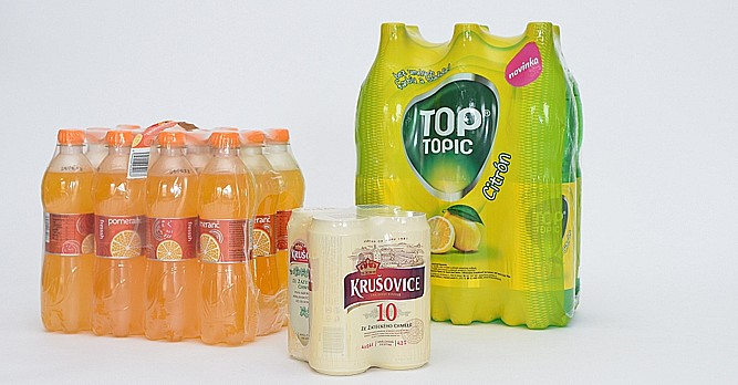 Smrštitelné fólie GRANOTEN pro skupinové balení PET lahví a plechovek