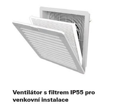 ventilátor s filtrem IP55 pro venkovní použití