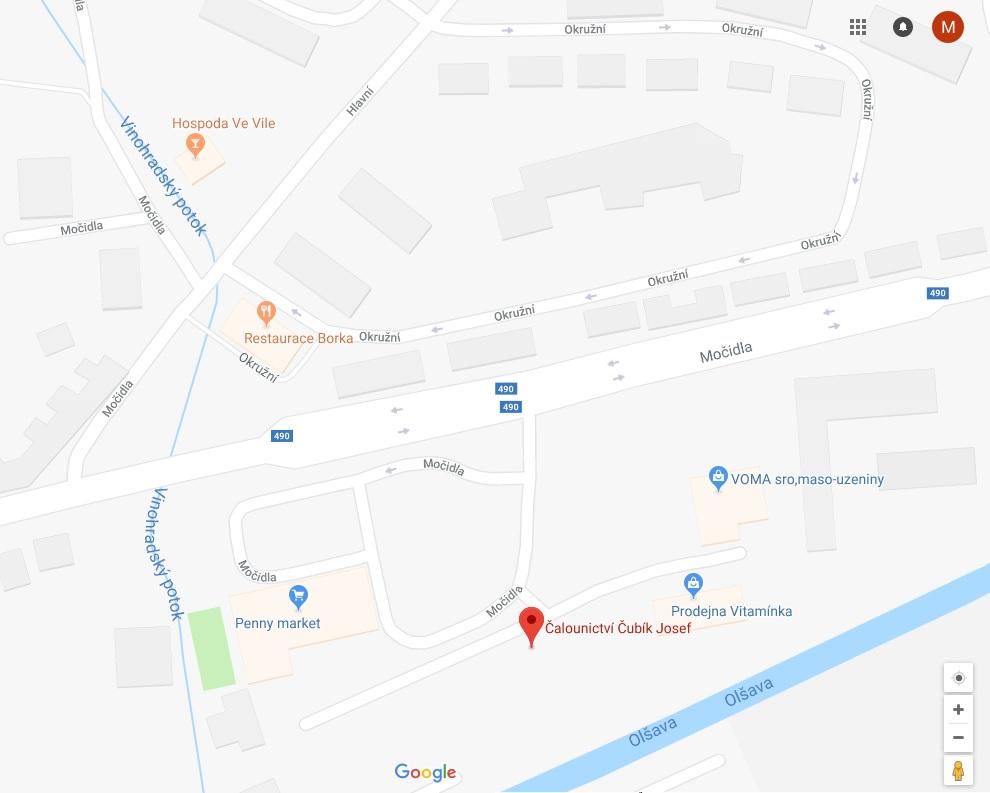 Čalounictví Čubík Uherský Brod - mapa