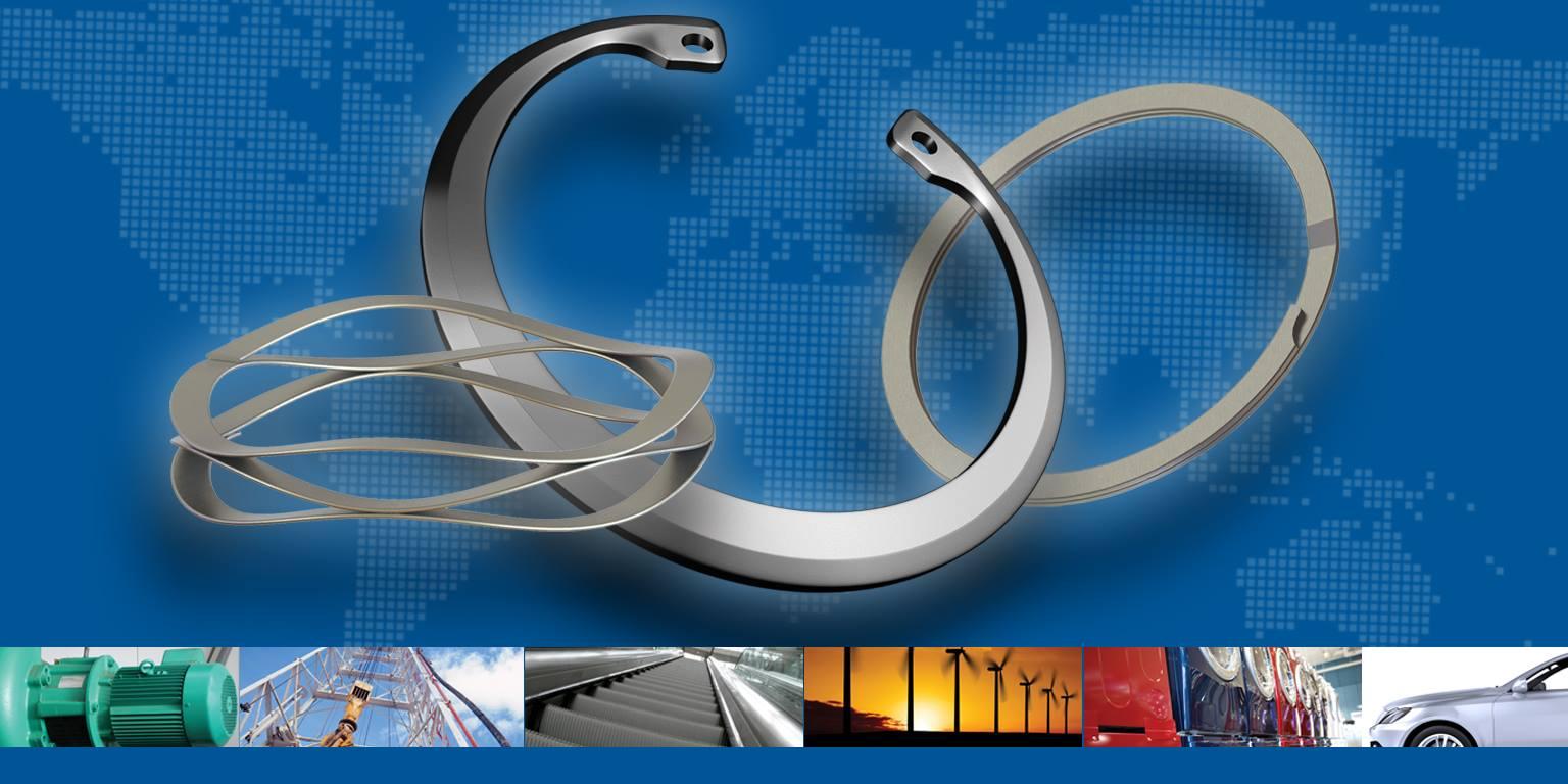 Palcové, DIN, ANSI metrické a JIS pojistné kroužky, konstantní průřezové kroužky a vlnkové pružiny