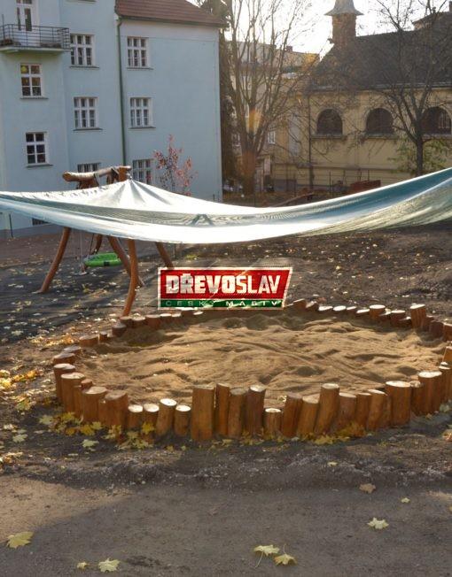 Dětské dřevěné pískoviště kulaté