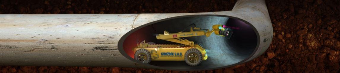Bezvýkopová kontrola kanalizace inspekční kamerou, tlakové čištění, zkoušky těsnosti kanalizace
