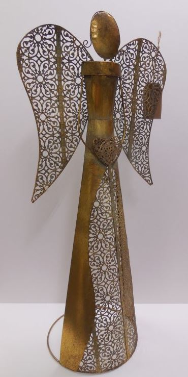 Anděl kovový svícen