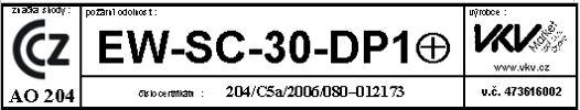 Vzor štítku požárního uzávěru sdefinicí požární odolnosti